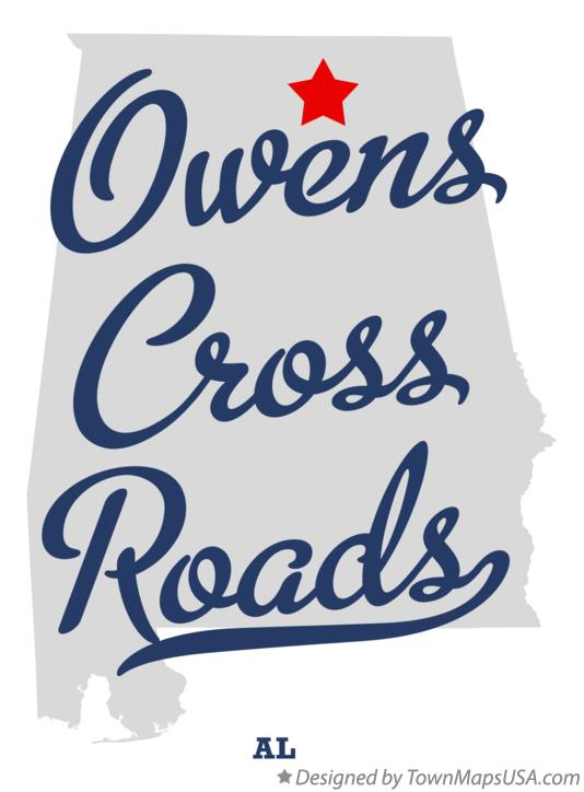 Map of Owens Cross Roads Alabama AL