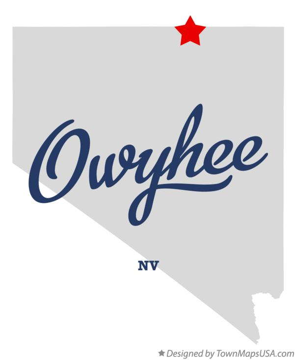 Map of Owyhee Nevada NV
