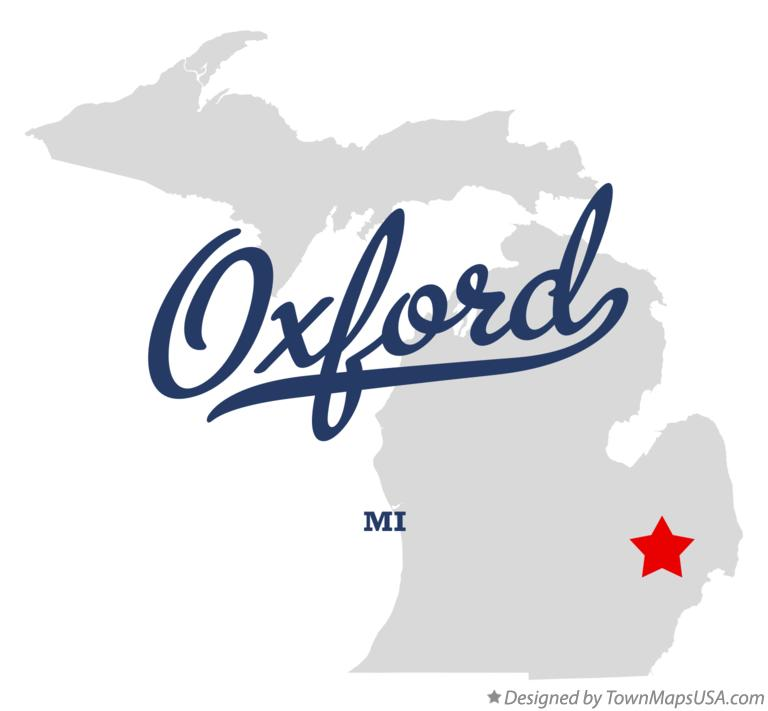 Map of Oxford, MI, Michigan