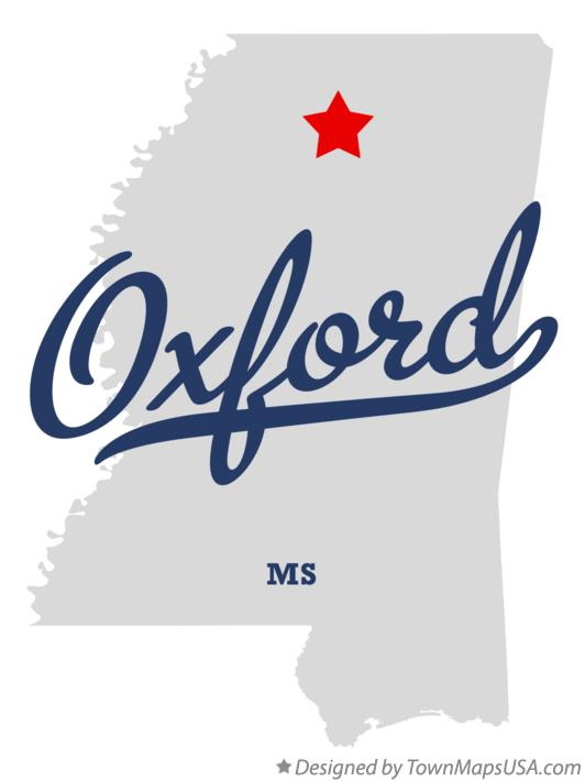 Map of Oxford Mississippi MS