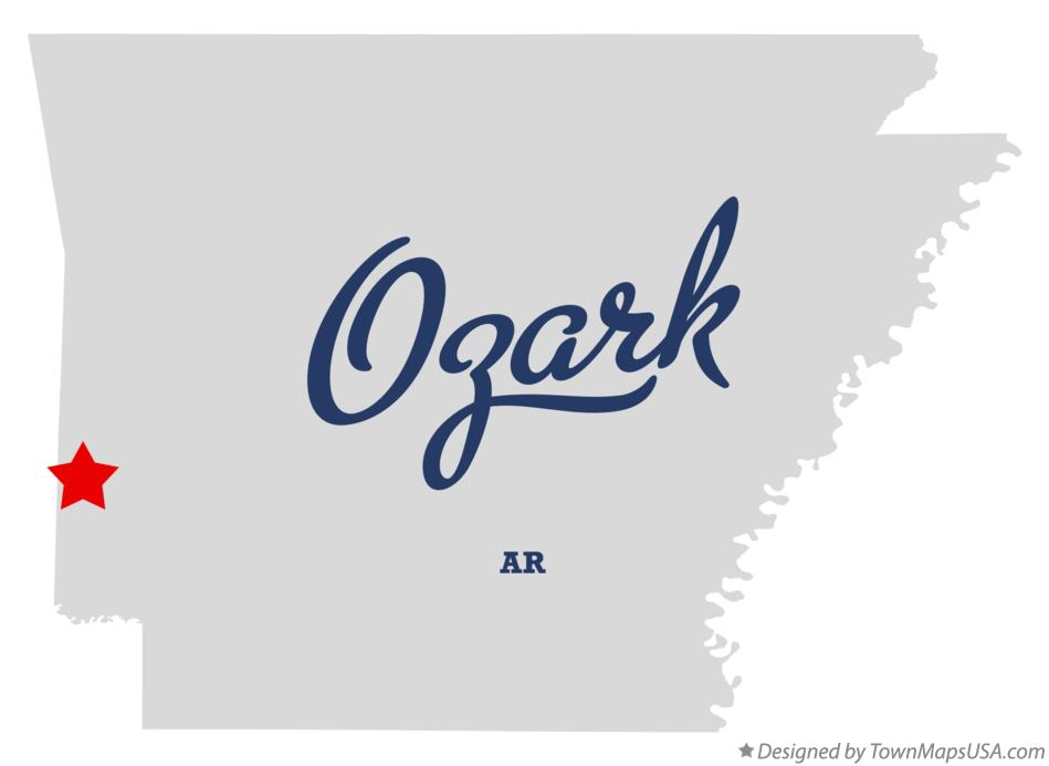 Map of Ozark Arkansas AR