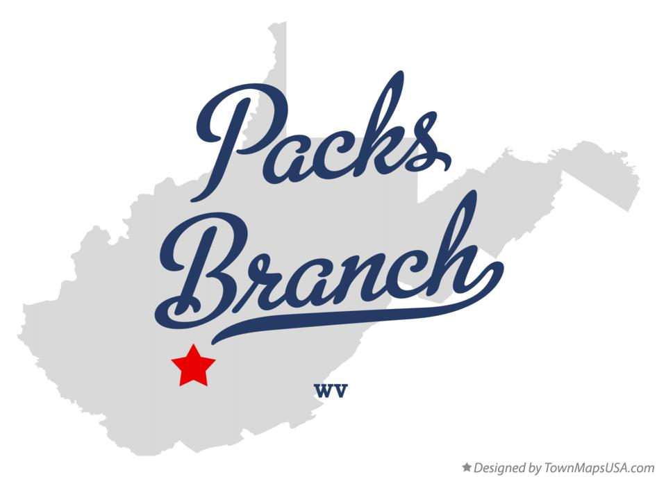 Map of Packs Branch West Virginia WV