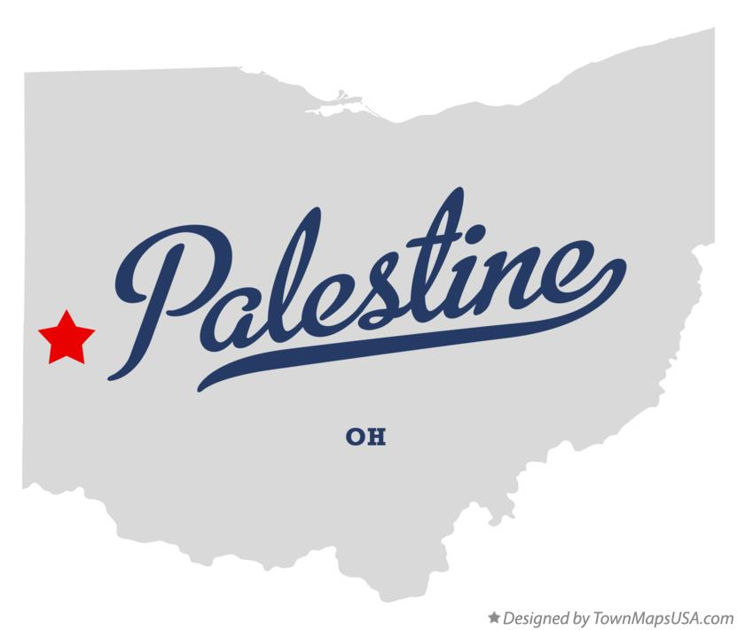 Map of Palestine Ohio OH