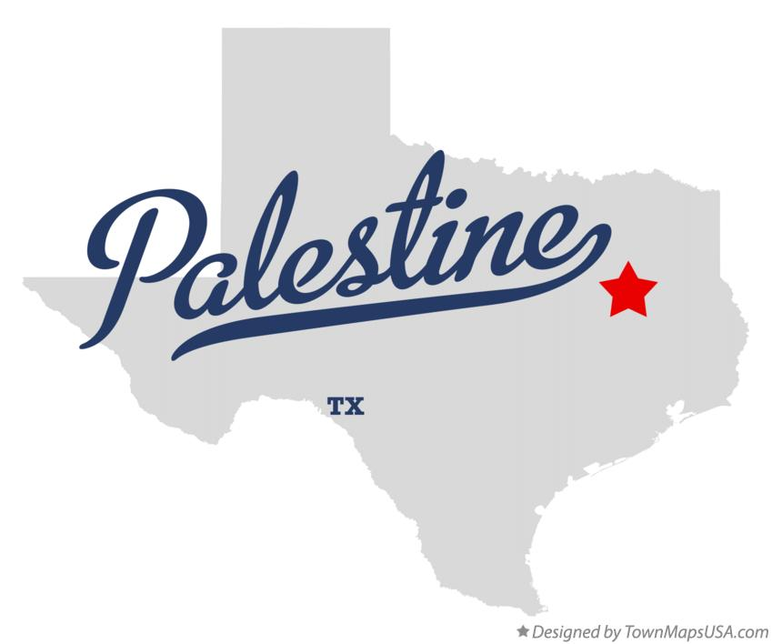 Map of Palestine Texas TX