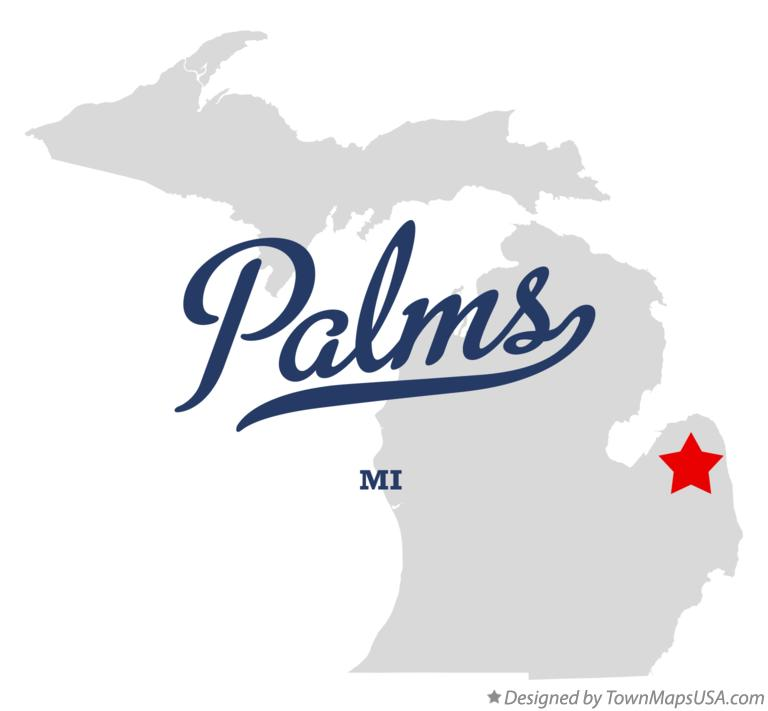 Map of Palms Michigan MI