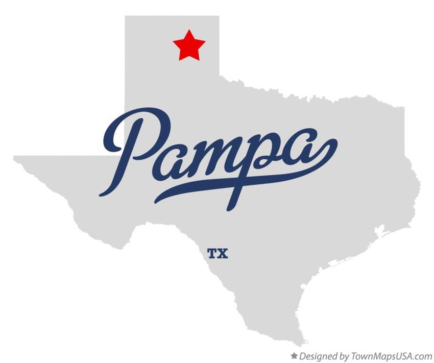 Map of Pampa Texas TX