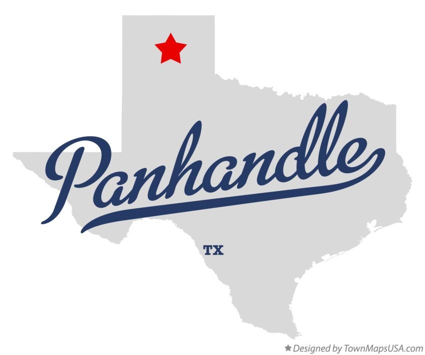 Map of Panhandle Texas TX