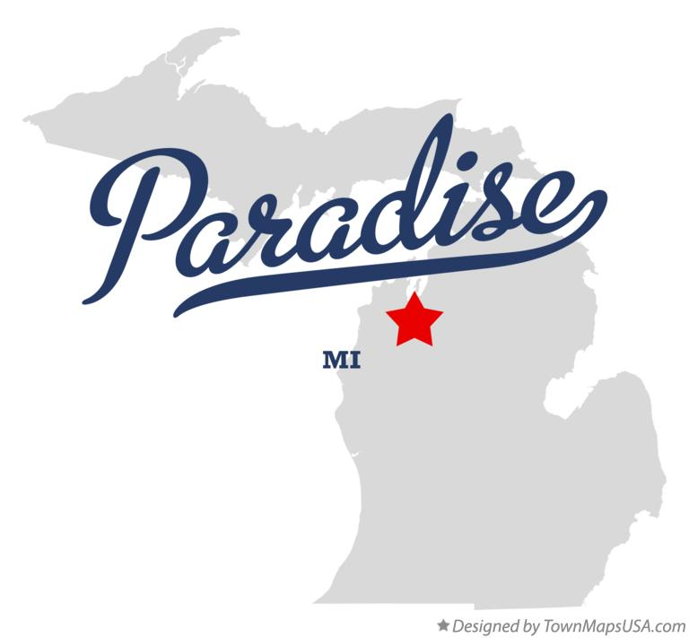 Map of Paradise Michigan MI