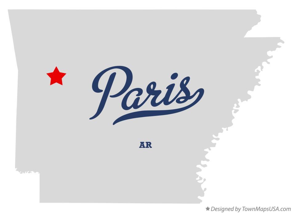 Map of Paris, AR, Arkansas