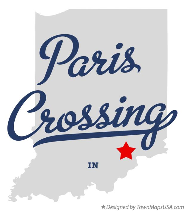 Map of Paris Crossing Indiana IN