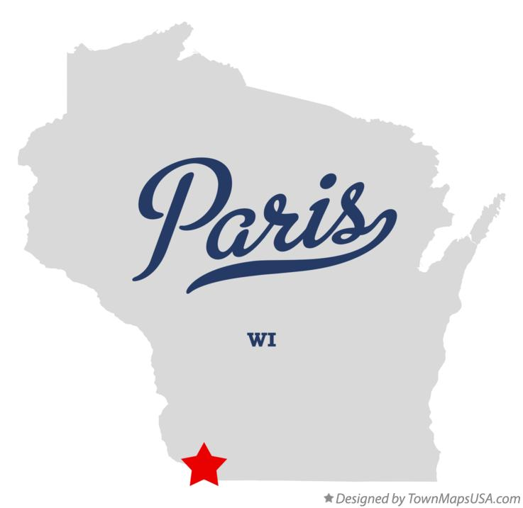 Map of Paris Wisconsin WI