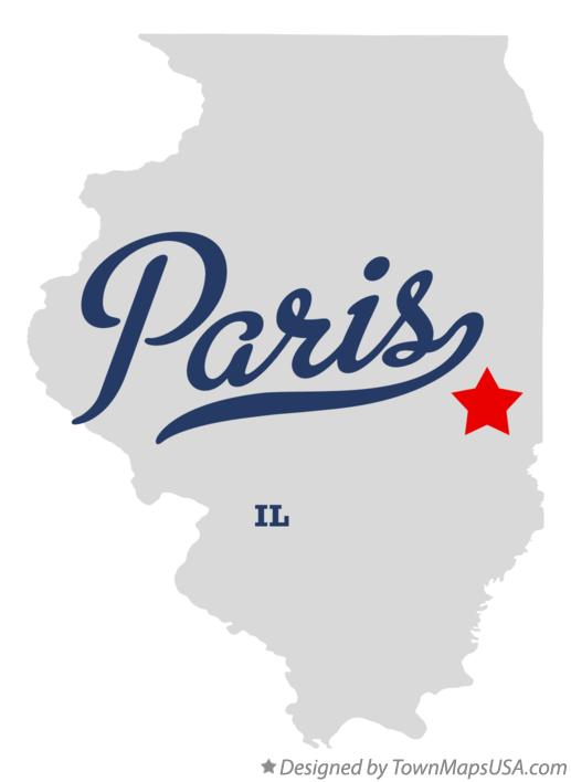 Map of Paris Illinois IL
