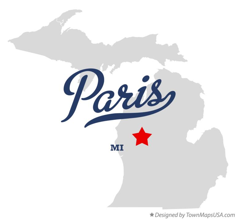 Map of Paris Michigan MI