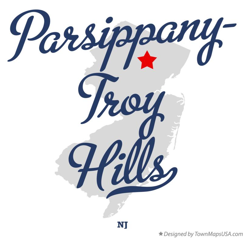 Map of Parsippany-Troy Hills New Jersey NJ