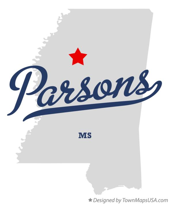 Map of Parsons Mississippi MS