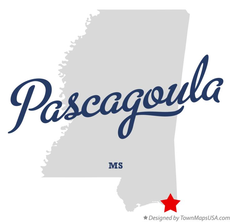 Map of Pascagoula Mississippi MS