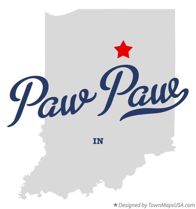 Map of Paw Paw Indiana IN