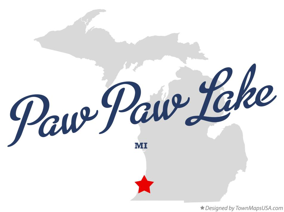Map of Paw Paw Lake Michigan MI