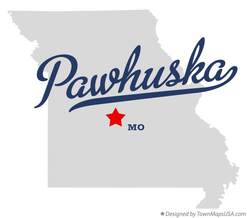 Map of Pawhuska Missouri MO