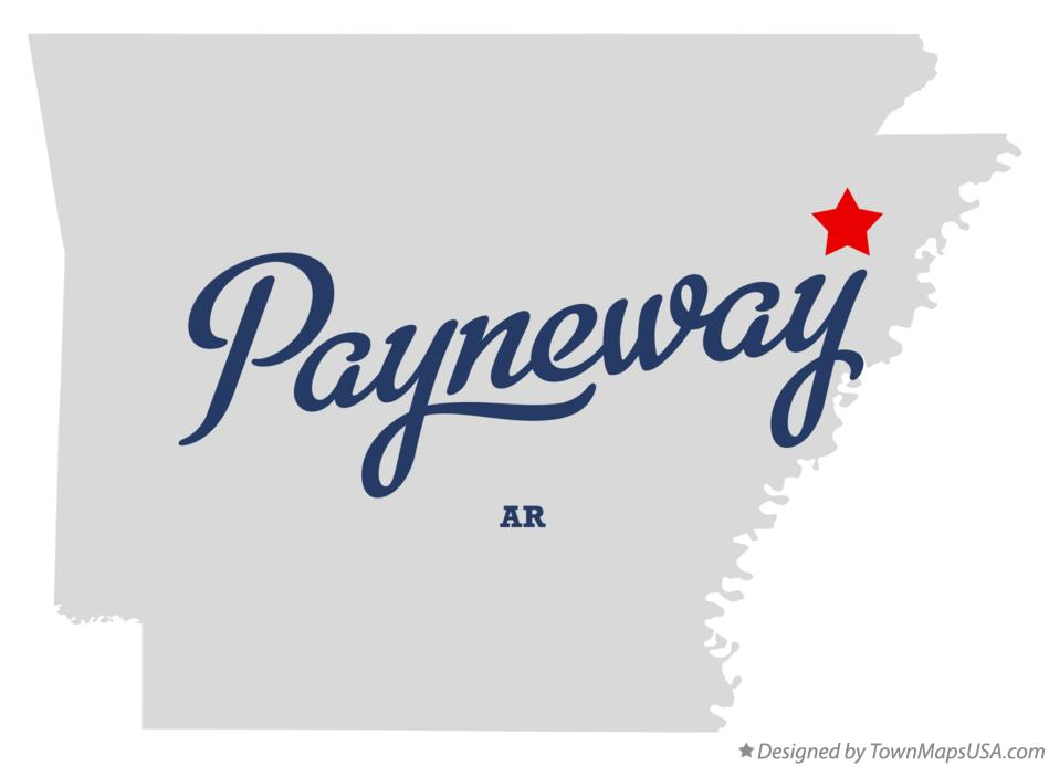 Map of Payneway Arkansas AR