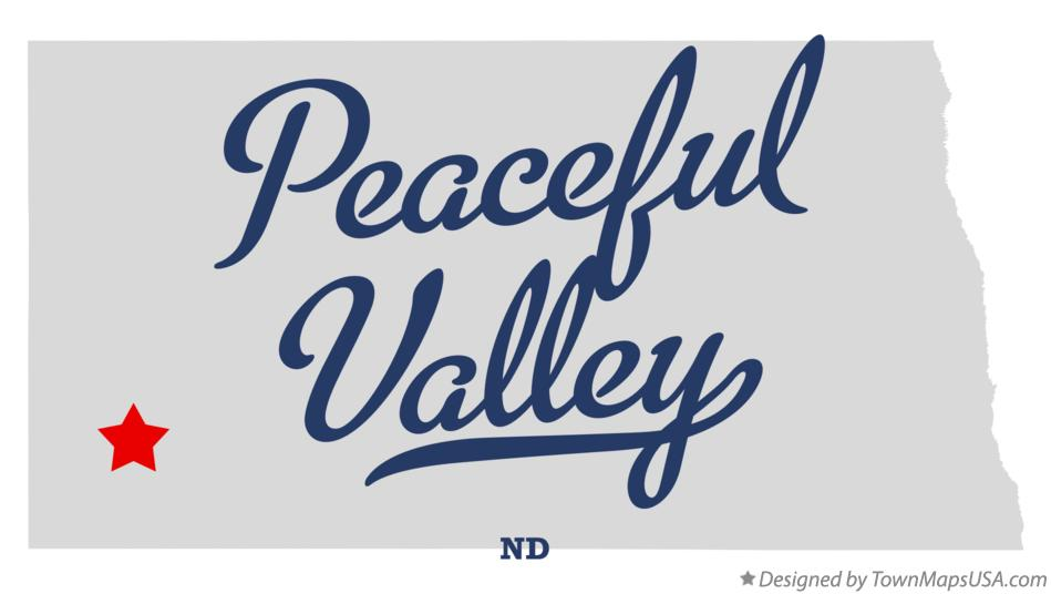Map of Peaceful Valley North Dakota ND