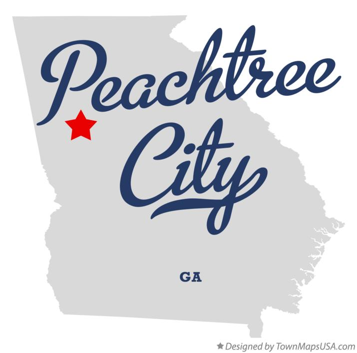 Map of Peachtree City Georgia GA