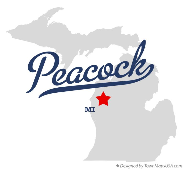 Map of Peacock Michigan MI