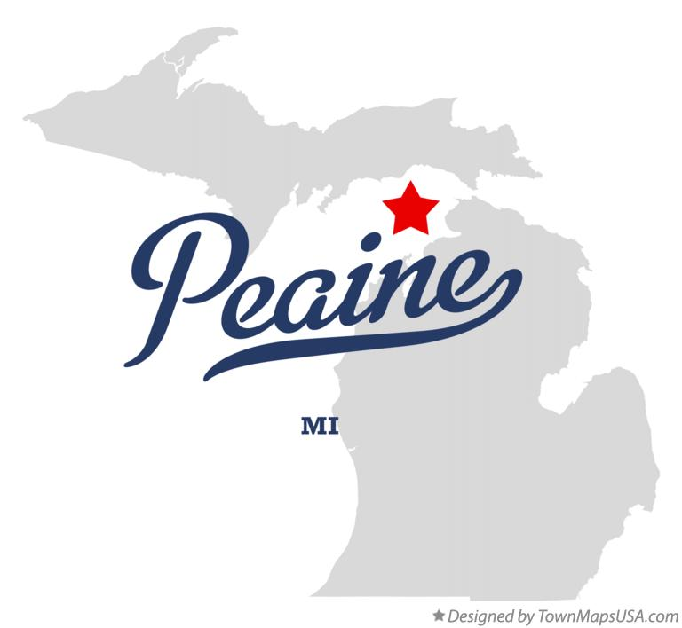 Map of Peaine Michigan MI
