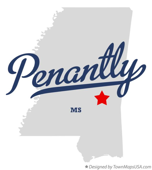 Map of Penantly Mississippi MS