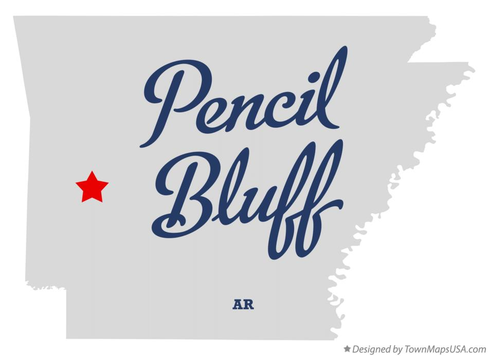 Map of Pencil Bluff Arkansas AR