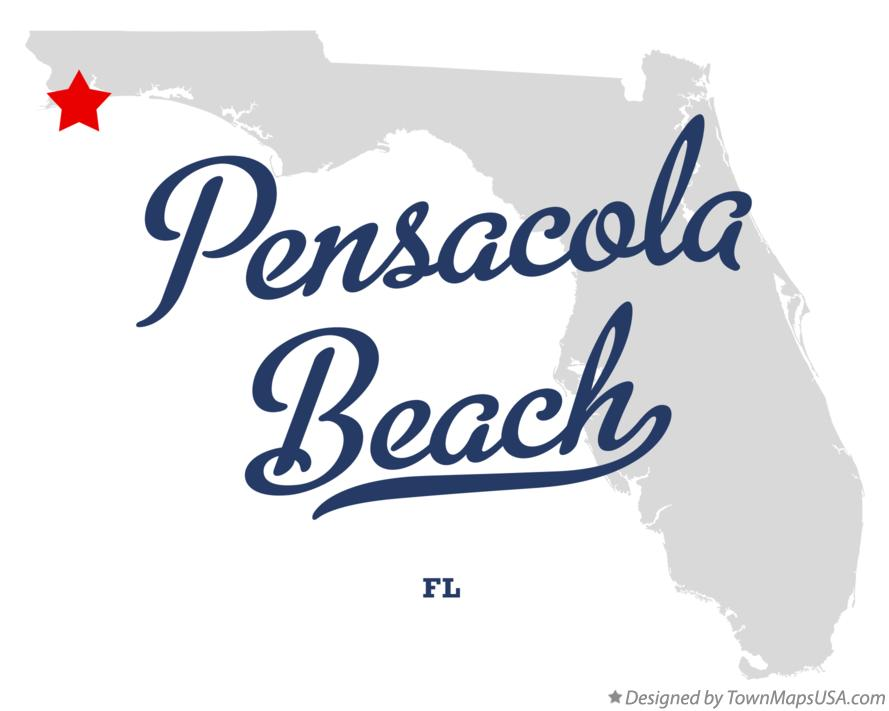 Map of Pensacola Beach Florida FL
