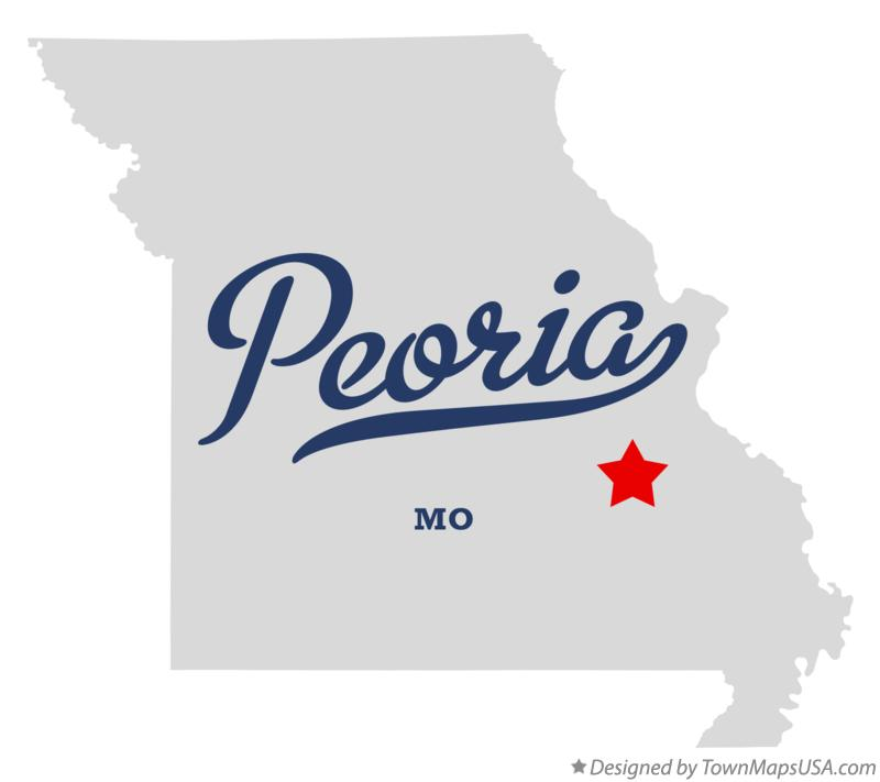 Map of Peoria Missouri MO