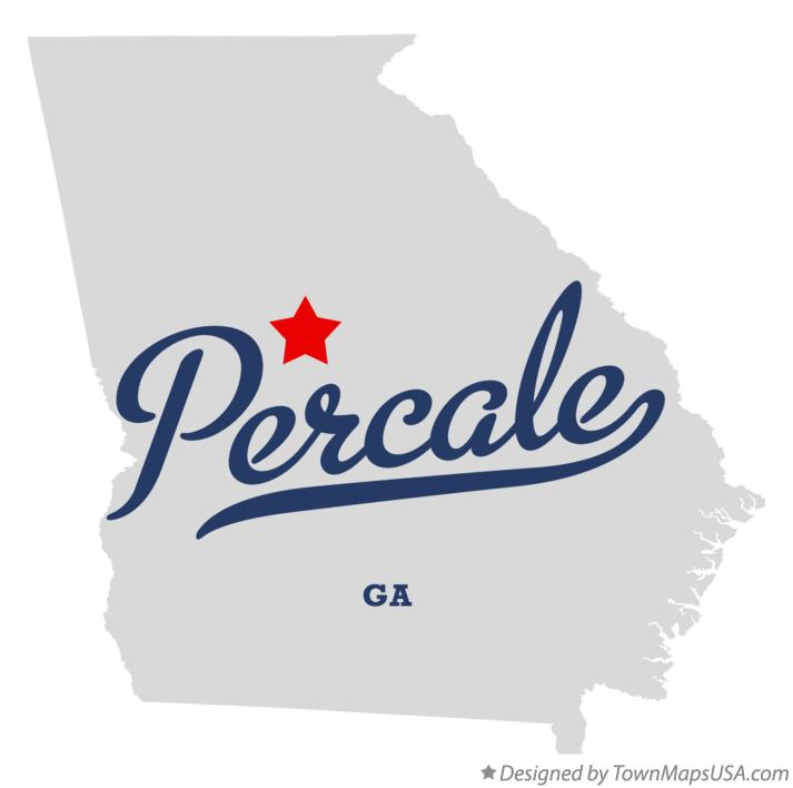Map of Percale Georgia GA