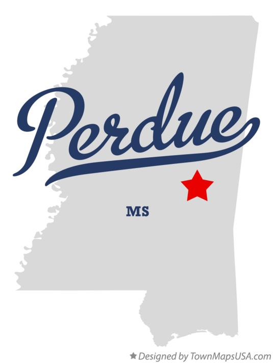 Map of Perdue Mississippi MS