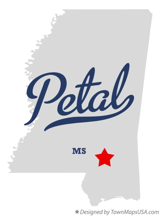Map of Petal Mississippi MS
