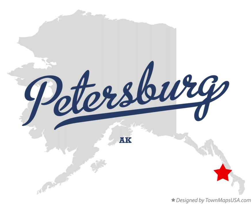 Map of Petersburg Alaska AK