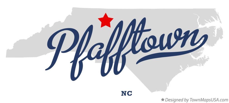Map of Pfafftown, NC, North Carolina