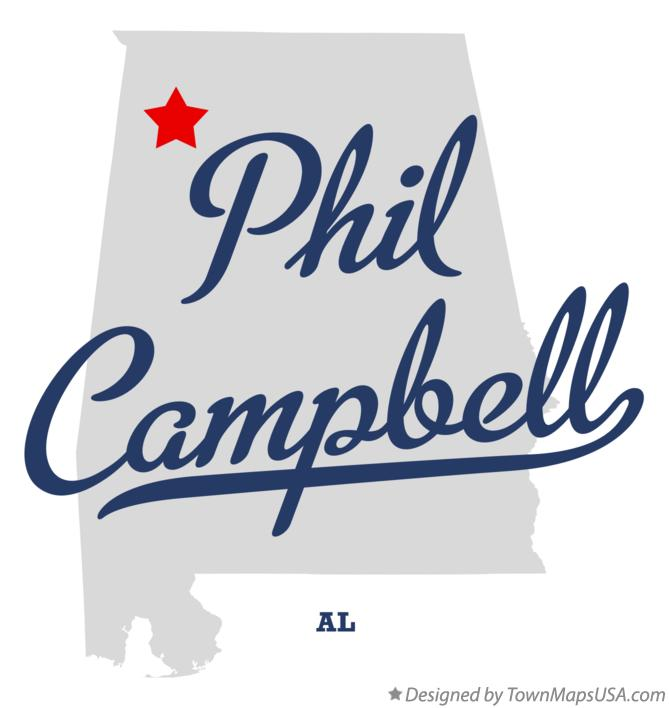 Map of Phil Campbell Alabama AL