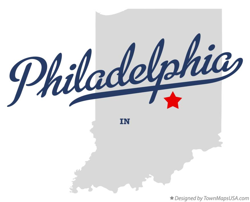 Map of Philadelphia Indiana IN