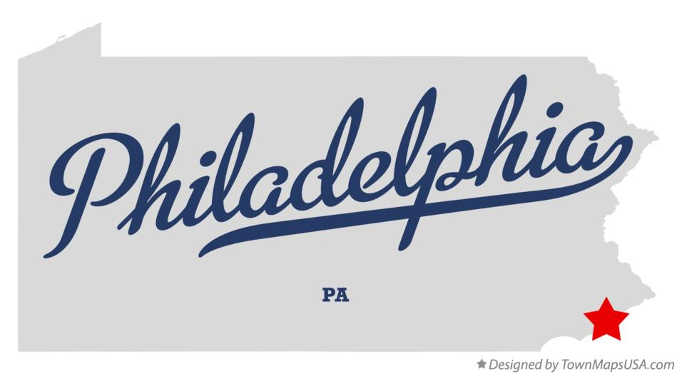 Map of Philadelphia, PA, Pennsylvania