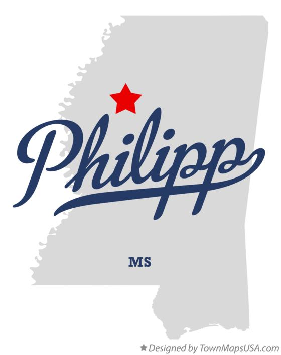Map of Philipp Mississippi MS