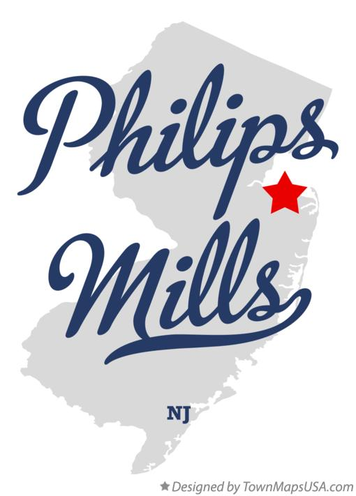 Map of Philips Mills New Jersey NJ