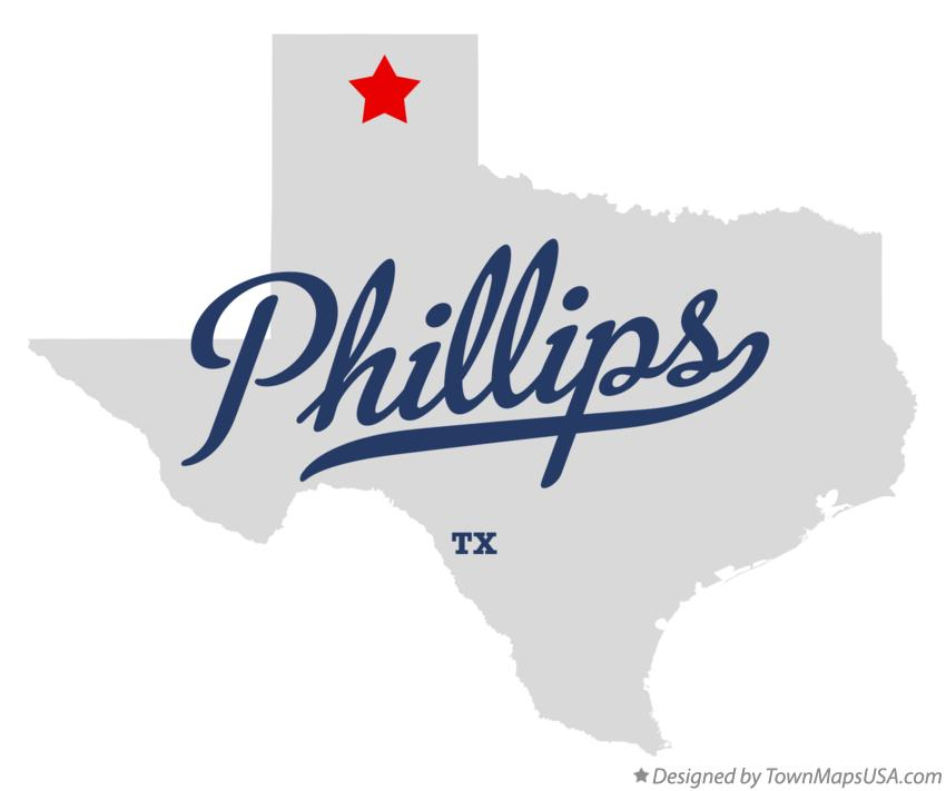 Map of Phillips Texas TX