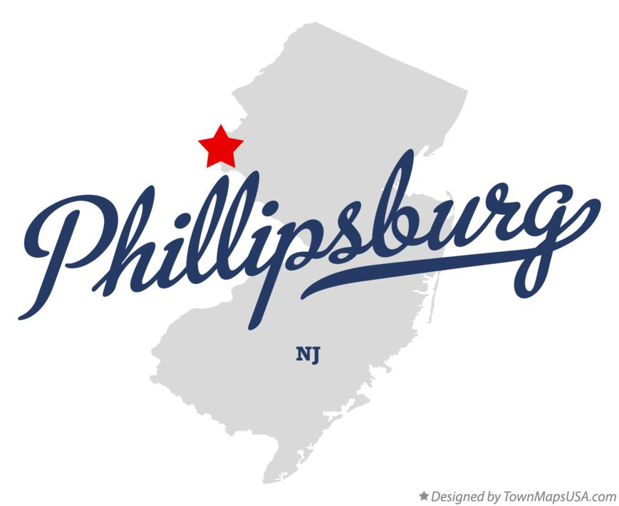 Map of Phillipsburg New Jersey NJ