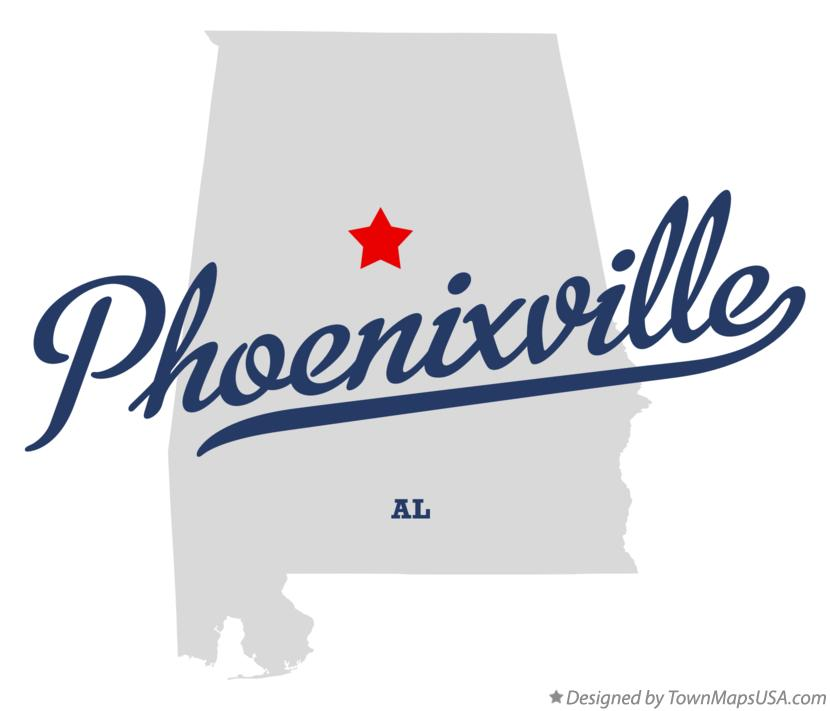 Map of Phoenixville Alabama AL
