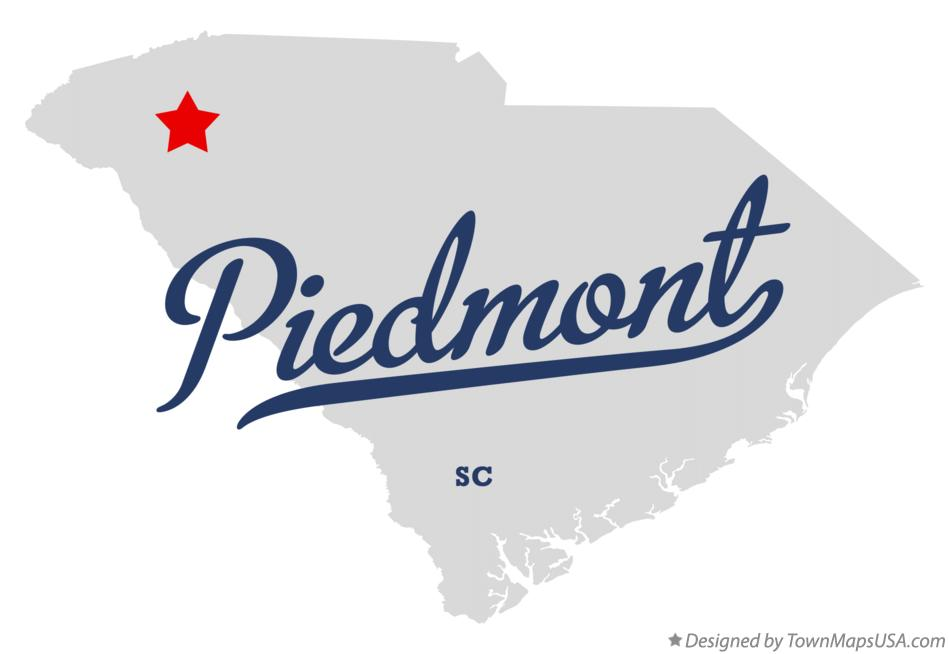 Map of Piedmont South Carolina SC