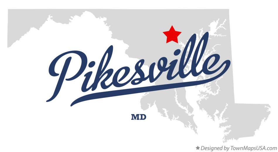 Map of Pikesville Maryland MD