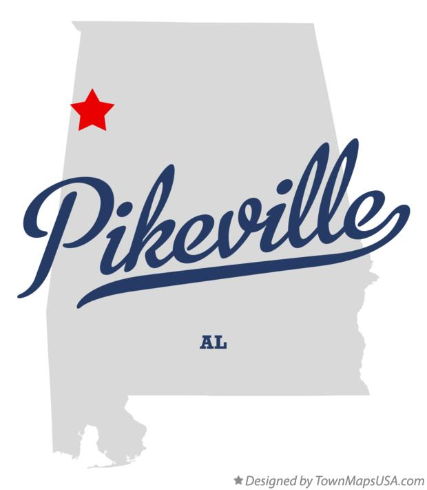 Map of Pikeville Alabama AL