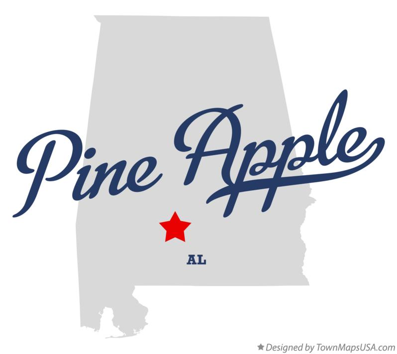 Map of Pine Apple Alabama AL