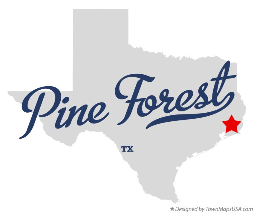 Map of Pine Forest Texas TX